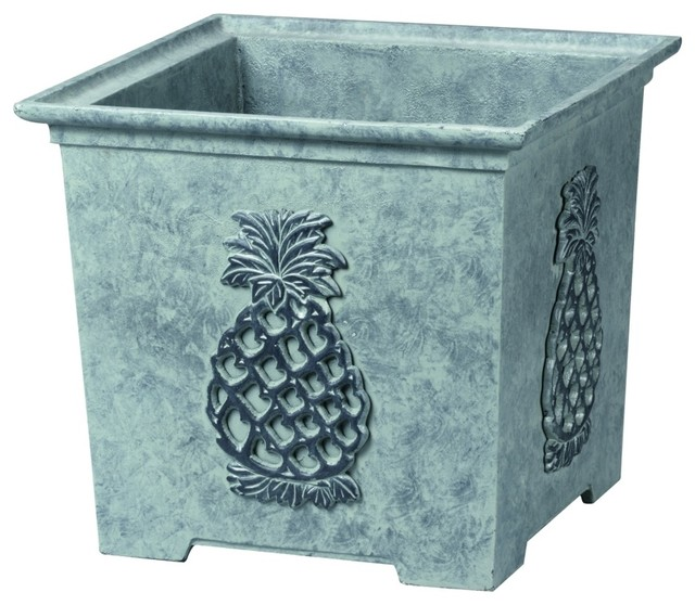 """Traditional 12 """" High Williamsburg Square Pineapple Planter traditional-indoor-pots-and-planters"""