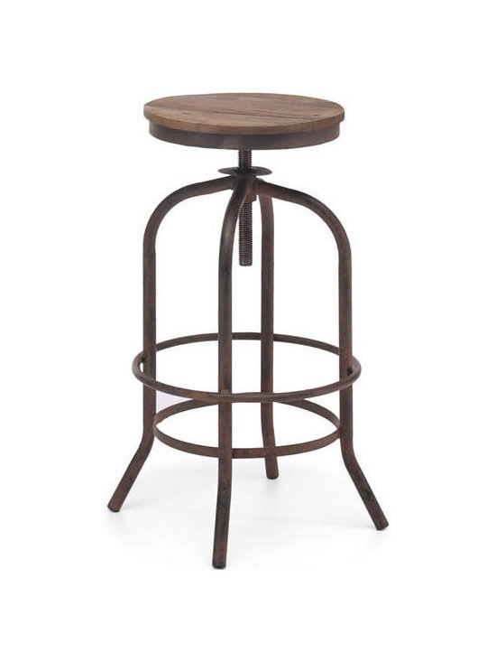 Zuo Modern - Zuo Twin Peaks Barstool in Distressed Natural - Twin Peaks Barstool Distressed Natural by Zuo Modern Based on the same mechanisms of drafters chairs in the early 1900's, the Twin Peaks barstool's adjustable mechanism allows a comfortable height for anyone. The top is solid Elmwood and the base and accents are antique metal. Barstool (1)