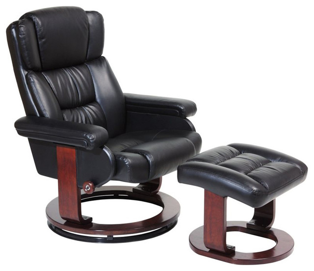 Serta Recliner and Ottoman in Puresoft Black Faux Leather transitional-chairs