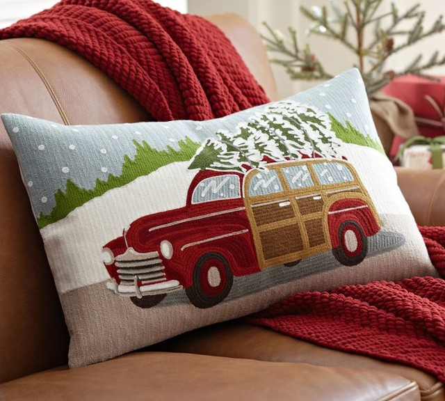 Woody Car Embroidered Lumbar Pillow Cover contemporary-holiday-decorations