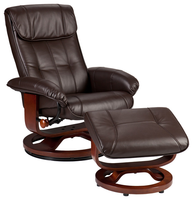 Bryce Bonded Leather Recliner and Ottoman, Cafe Brown contemporary-living-room-chairs