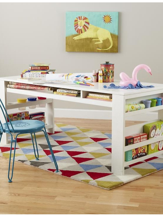 Compartment Department Play Table, White -