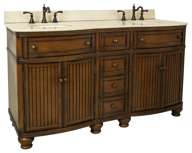 60 Wide MDF Double Vanity VAN029D 60 T MC Bathroom Vanities And Sink
