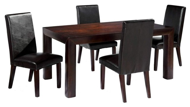 Overnice in Wood Glass Top Leather Modern Dining Set contemporary-dining-tables