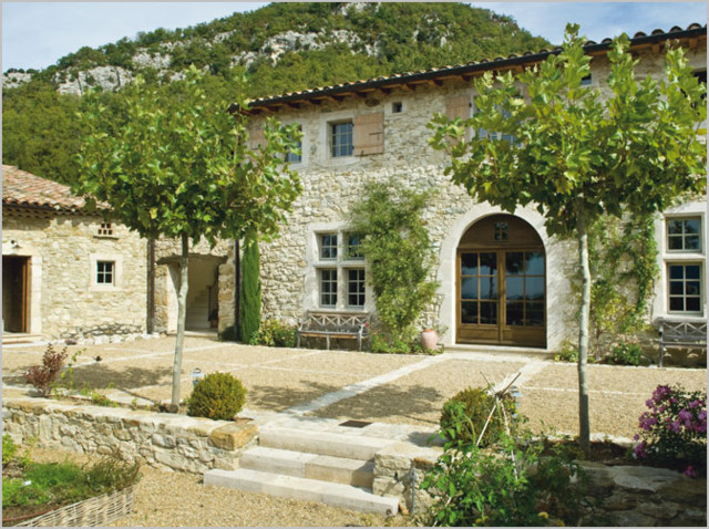 Stone House Courtyard Gardens Arched Door South Of France