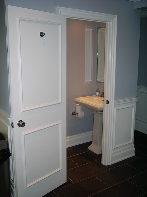 Tiny small bathroom traditional powder room toronto for Smallest powder room size
