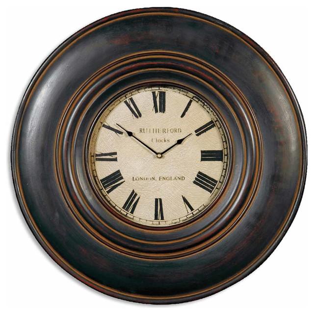 "Adonis 24"" Wooden Wall Clock transitional-wall-clocks"