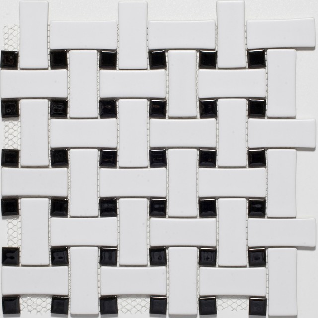 Ceramic White Black Basketweave Mosaic Tiles Contemporary Mosaic Tile