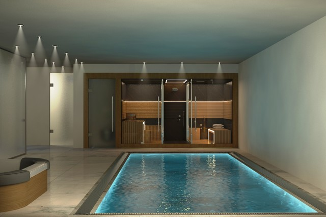Basement gym contemporary rendering amsterdam by vkv visuals