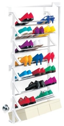 Over-the-Door Shoe Rack, White modern-closet-storage