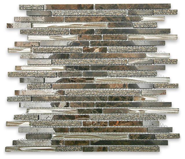 Arcadia Juniper Random Brick Glass and Stone Tile asian-tile