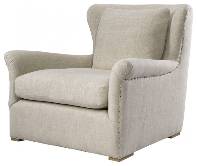 Wingback Linen Upholstered Chair eclectic-chairs