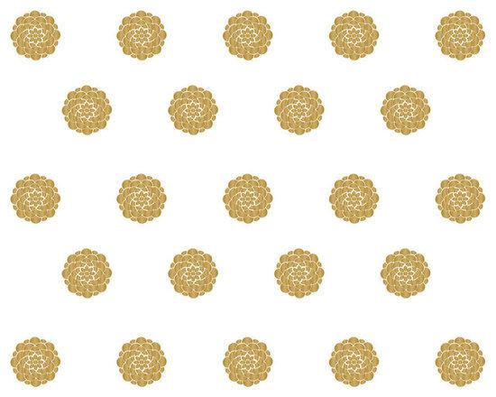 Dana Decals - Small Geometric Flower Wall Pattern Decal - Small Clean Modern Graphic Geometric Flower Pattern in Metallic Gold