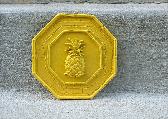 Yellow Pineapple Wall Hanging by Retro Pops eclectic artwork