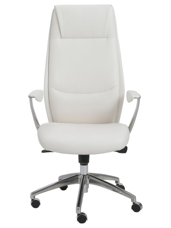 Eurostyle - Crosby High Back Office Chair-Wht/Alum - You can't help but feel happy after glancing at this welcoming office chair. After all, the seams in the high backrest create the look of a friendly face, as it delivers cushioned comfort and support. Take a seat and introduce yourself.