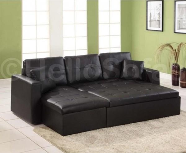 Contender Black Leather Corner Sofa Bed With Storage  Modern