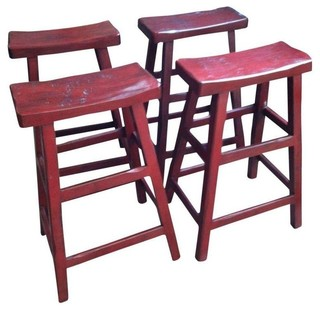 Asian Red Saddle Bar Stool - Set of 4 - Modern - Bar Stools And Counter Stools - by Chairish