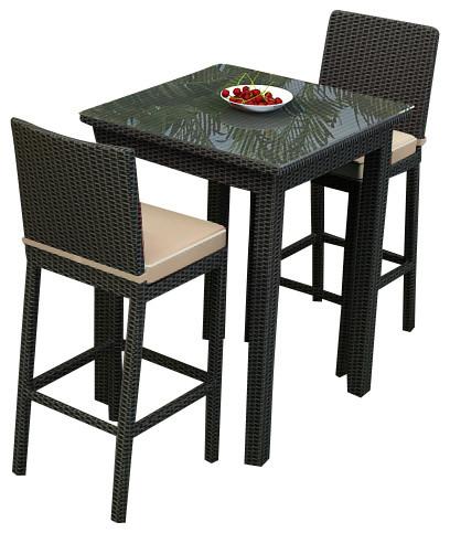 Barbados 3 Piece Outdoor Wicker Bar Set, Spectrum Mushroom Cushions modern-patio-furniture-and-outdoor-furniture