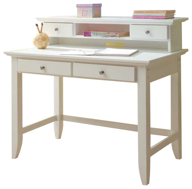 Home Styles Naples Student Desk and Hutch Set White