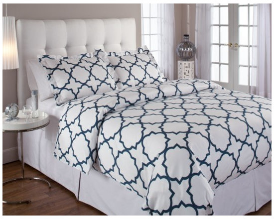 Quatrefoil Midnight Duvet - Our Quatrefoil duvet sets feature a cool, graphic print to update the look of any bedroom.