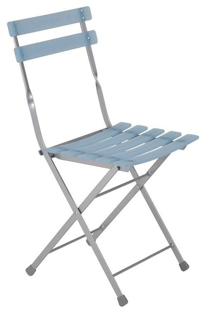 Slatted Folding Chairs In Blue And Aluminum F Contemporary Dining Chairs