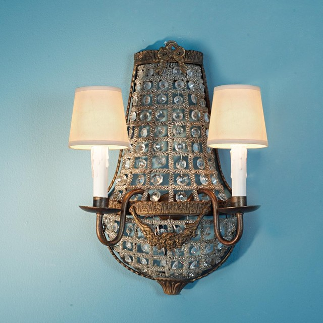 Antique Replica Wall Sconces : French Antique Reproduction Crystal Basket Sconce - 2 Lt - Wall Sconces - by Shades of Light