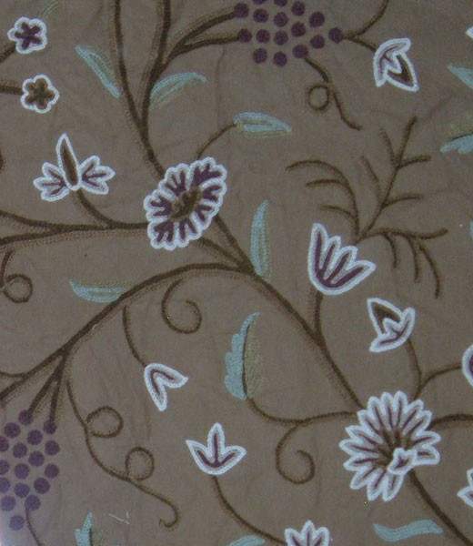 Crewel Fabric Grapes Cocoa Brown Cotton Duck craftsman-upholstery-fabric