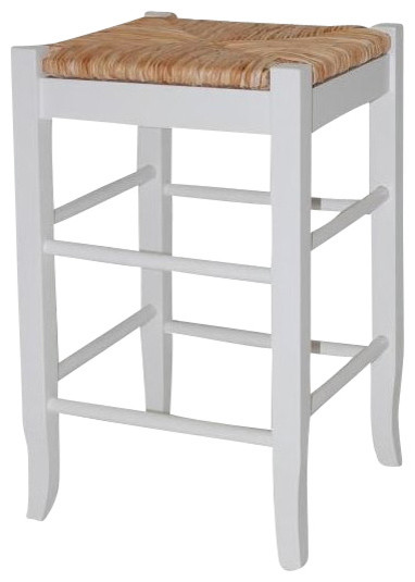 "Boraam Square Rush 24"" Stationary Counter Stool in White transitional-bar-stools-and-counter-stools"