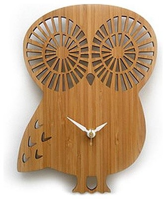 Bamboo Owl contemporary clocks