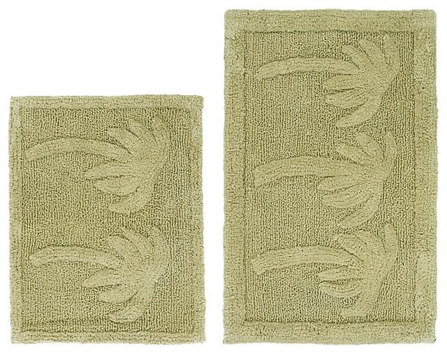 celebration palm tree cotton 2 bath rug set