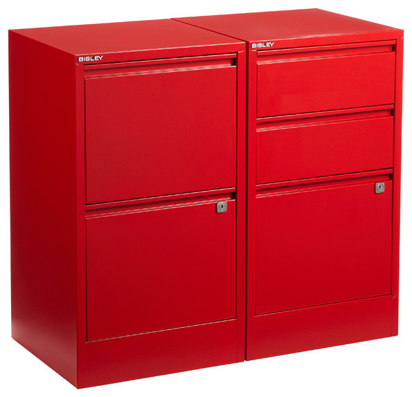 Red Bisley File Cabinets - Contemporary - Filing Cabinets - by The Container Store
