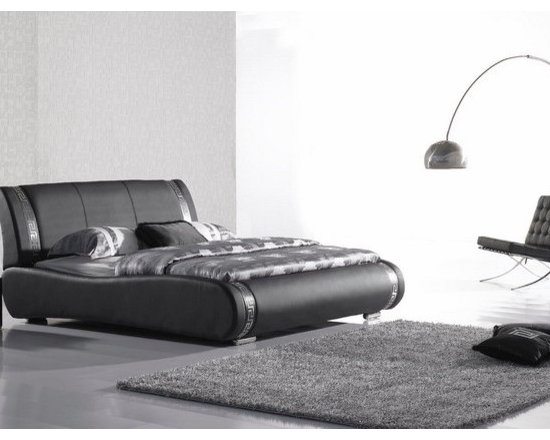 Lorissa Bed Frame - Upholstered in supple genuine leather with tasteful stainless steel accents work in the headboard and footboard, the Lorissa Modern Leather Bed Frame is the perfect compliment to your upscale bedroom decor.