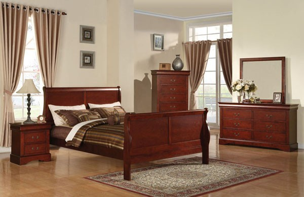 Acme Furniture - Louis Philippe III KD Cherry 5 Piece King Bedroom Set - 19514AC traditional-bedroom-products