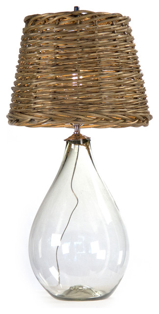 Panier French Cottage Large Glass Rustic Basket Shade Table Lamp - S transitional-table-lamps