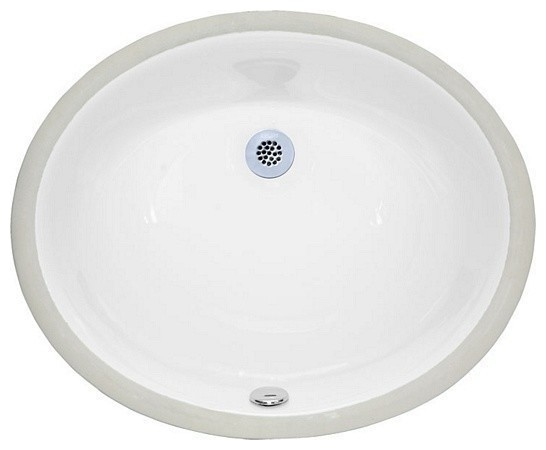 """Undermount Sink 18"""" Oval Vitreous China White contemporary-bathroom ..."""