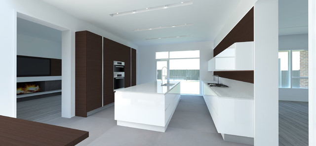 Modern Kitchen: Floating Linear Cabinets, Large Island, Grey Oak & White Lacquer contemporary kitchen
