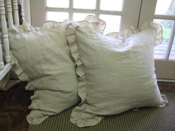 Ruffled Shams, Washed Oatmeal Linen by Cottage and Cabin Interiors traditional shams