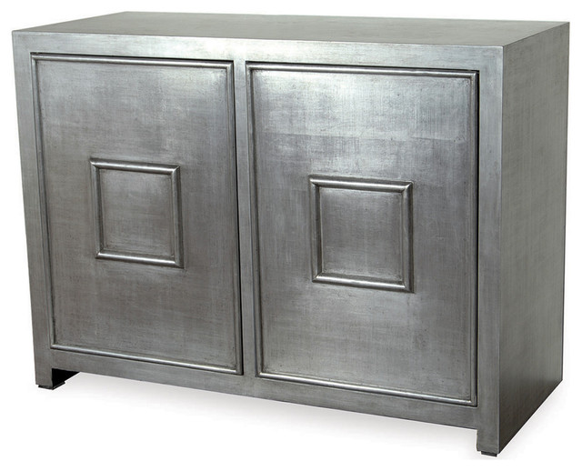 Park Avenue Hollywood Regency Style Silver Leaf Cabinet - Transitional - Storage Cabinets - by ...