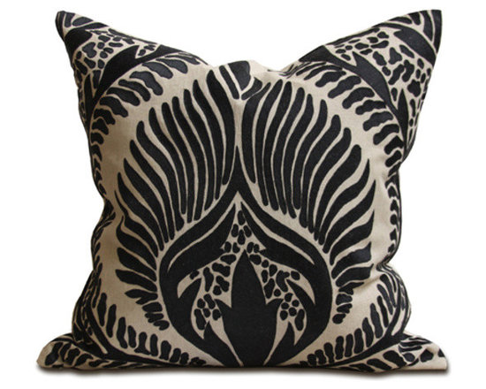 Kathy Kuo Home - Revere Coastal Beach Black Natural Square Pillow - Hand embroidered pillows in linen and silk are sumptuously oversized and generously filled with down and feathers - tossed on a bed or a gathered on a sofa, create a lasting personal touch.
