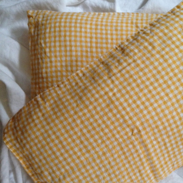 Linen Pillow Cases, Yellow Check traditional-shams