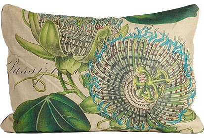 Blue Passion Flower Pillow traditional pillows