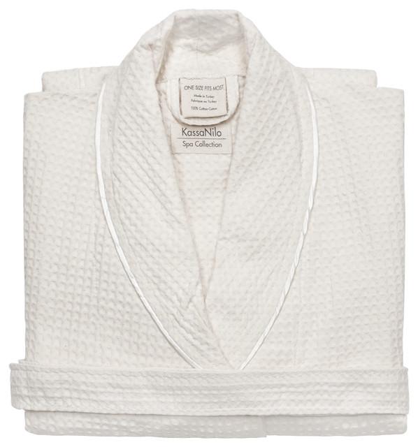 Kassatex Kassanilo Shawl Bath Robe, White contemporary-bathrobes