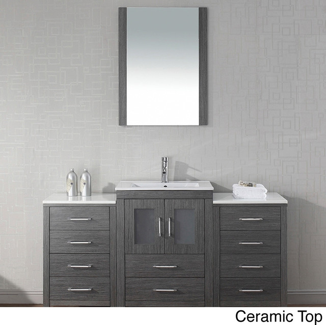 Single Sink Vanity Set In Zebra Grey Contemporary Bathroom Vanities