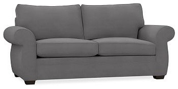 Pearce Upholstered Sofa, Down-Blend Wrap Cushions, everydaysuede(TM) Metal Gray traditional-sofas
