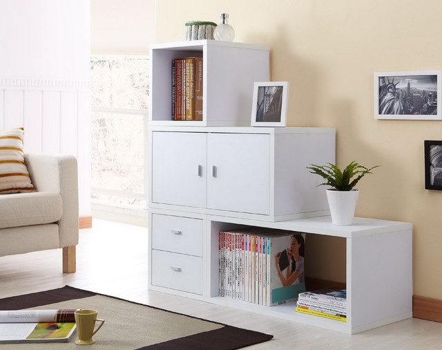 Furniture of America Allure Modular Storage Cabinet in White (Set of 4 ) - Contemporary - by ...