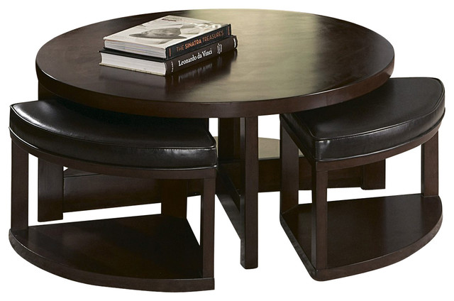 II Round Wood Cocktail Table With 4 Ottomans Traditional Coffee Tables