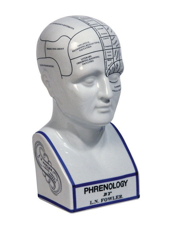 """Inviting Home - Phrenology Head - Phrenology head 5-1/2""""x 6-1/2""""x 11-3/8""""H Phrenology head is a tool of trade for the Victorian doctor's desk. This head made of crackled porcelain like Staffordshire china. Phrenology head will make a highly interesting and challenging gift as well as valuable home decor. Victorian science was fascinated with the human brain. Phrenology was one of the fanciful results of highly creative research. Moods data storage creativity and sensitivity were among the 'senses' that were neatly catalogued and given a defined location. A doctor's desk was not complete without a model of a head depicting the areas associated with each of the senses."""