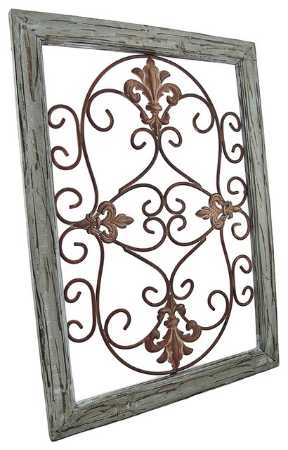Distressed Wooden Green Frame Wrought Iron Fleur De Lis