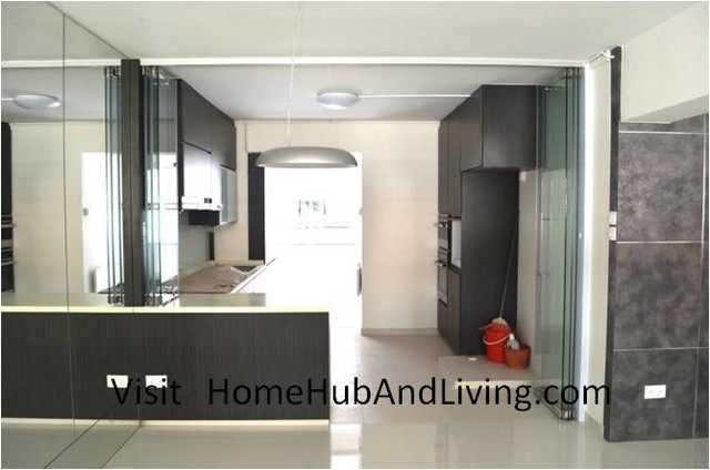Stylish Designed Modern Kitchen (Counter Top Island) with Frameless Door System contemporary