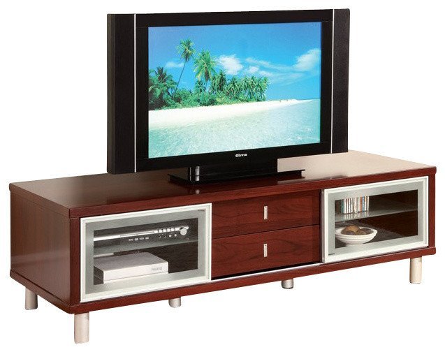 M720TV-M Mahogany Veneer Finish Entertainment Unit - Modern - Entertainment Centers And Tv ...